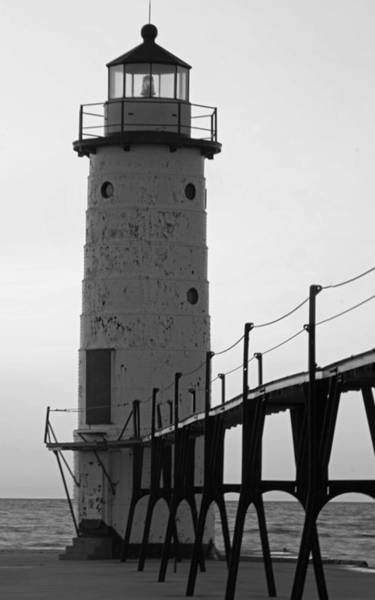 Manistee Photograph - Manistee Lighthouse In Black And White by Twenty Two North Photography