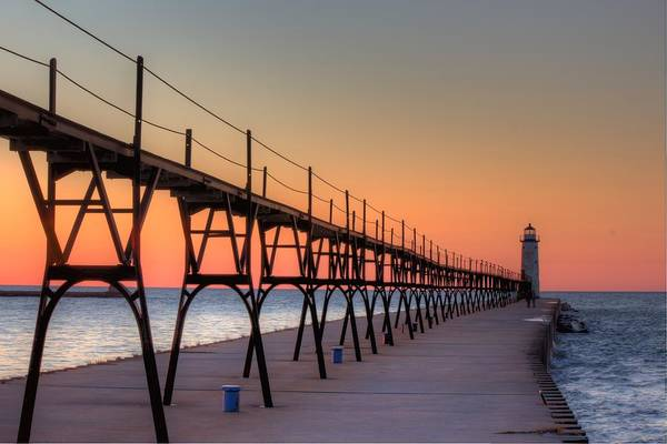 Manistee Photograph - Manistee Lighthouse Sunset by Twenty Two North Photography