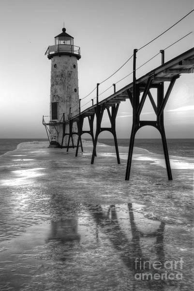Manistee Photograph - Manistee North Pierhead In Black And White by Twenty Two North Photography