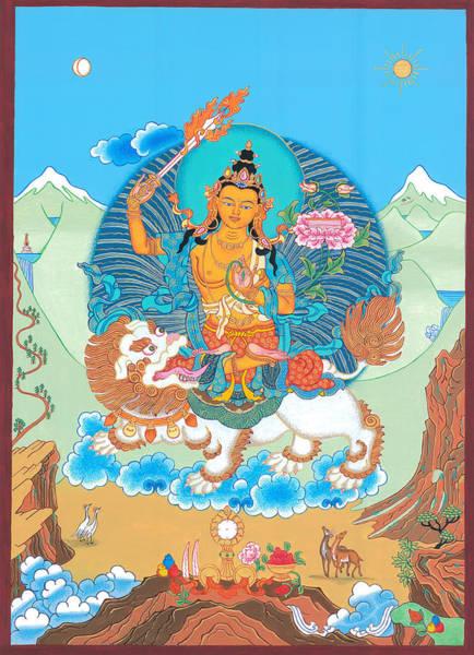 Thangka Painting - Manjushri Thangka by Ies Walker