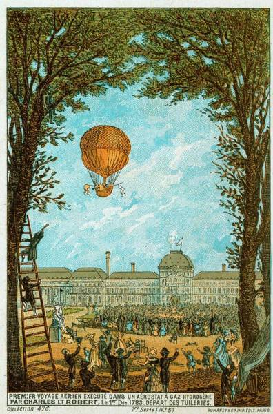 Jacques Photograph - Manned Hydrogen-filled Balloon Flight by Universal History Archive/uig