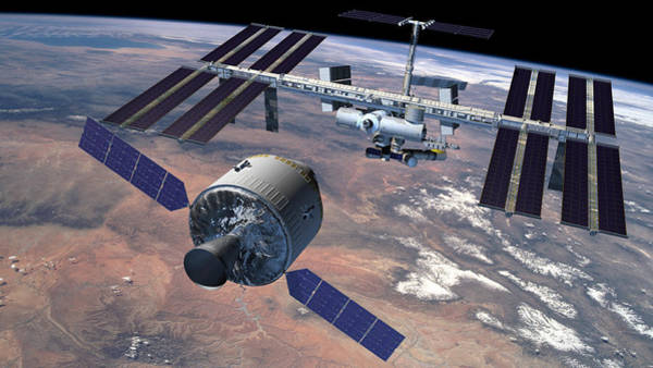 Iss Photograph - Manned Iss Supply Ship by Nasa/science Photo Library