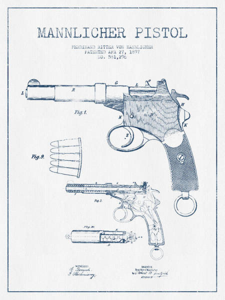 Weapons Digital Art - Mannlicher Pistol Patent Drawing From 1897  -  Blue Ink by Aged Pixel