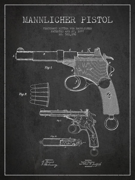 Weapons Digital Art - Mannlicher Pistol Patent Drawing From 1897 - Dark by Aged Pixel