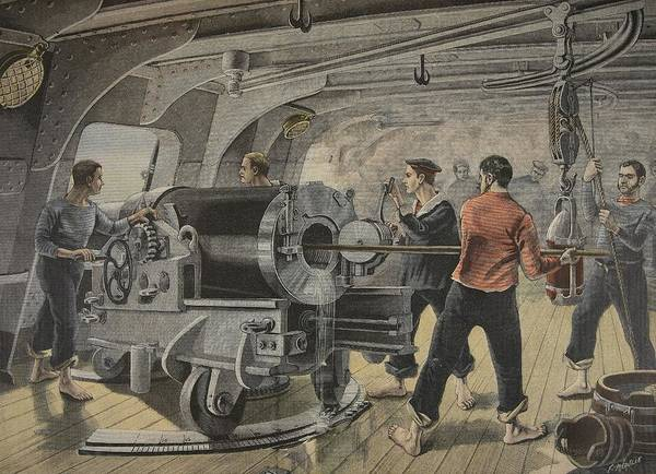 Interior Drawing - Manoeuvering Of A Cannon By The Spanish by Fortune Louis Meaulle