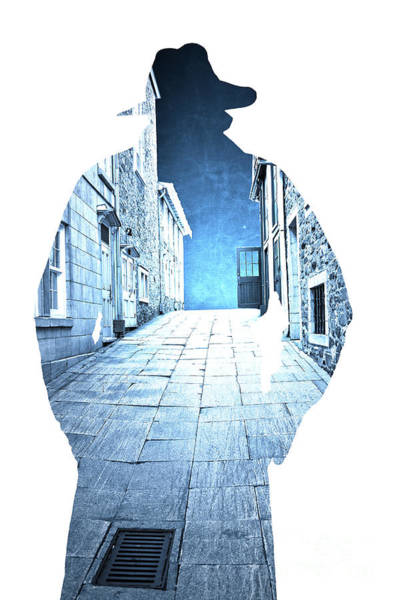 Photograph - Man's Profile Silhouette With Old City Streets by Edward Fielding