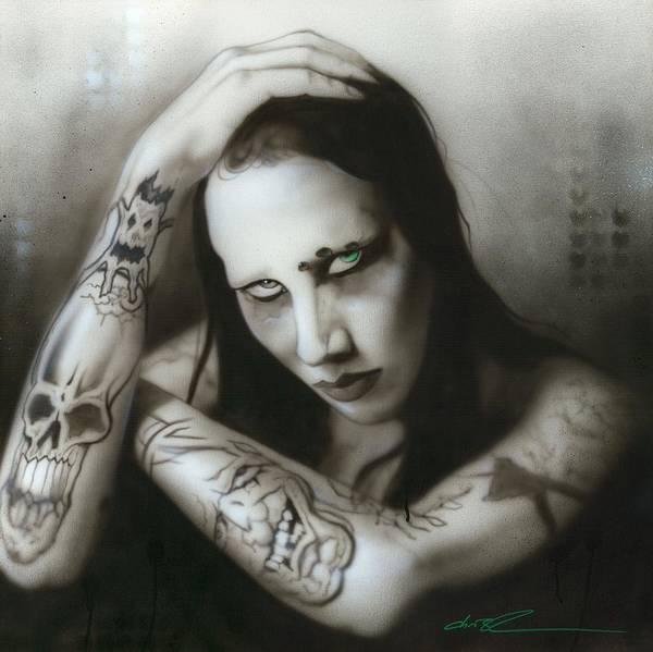 Goth Painting - Manson IIi by Christian Chapman Art