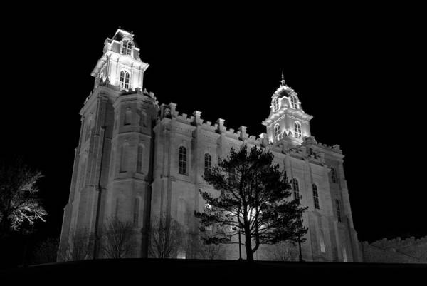 Photograph - Manti Temple Black And White by David Andersen