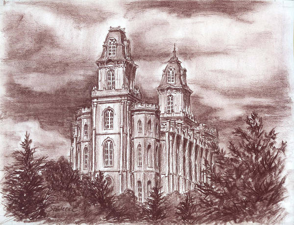 Drawing - Manti Utah Lds Temple by Shalece Elynne