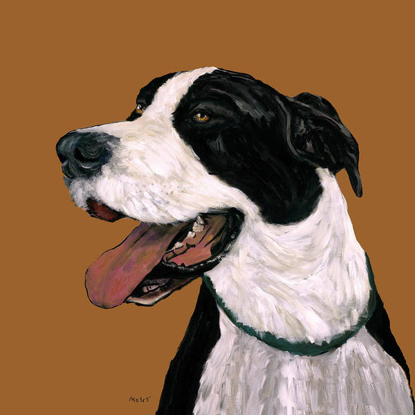 Black Great Dane Painting - Mantle Great Dane by Dale Moses