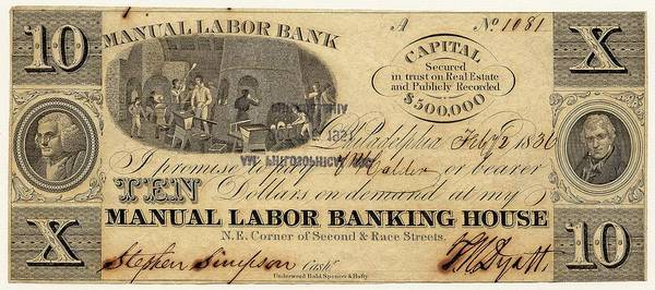 Us Bank Photograph - Manual Labor Bank Note by American Philosophical Society
