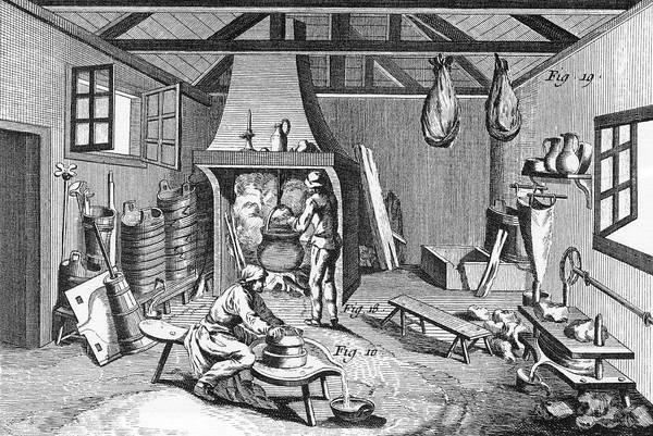 Cheese Drawing - Manufacturing Auvergne Cheese   - by Mary Evans Picture Library