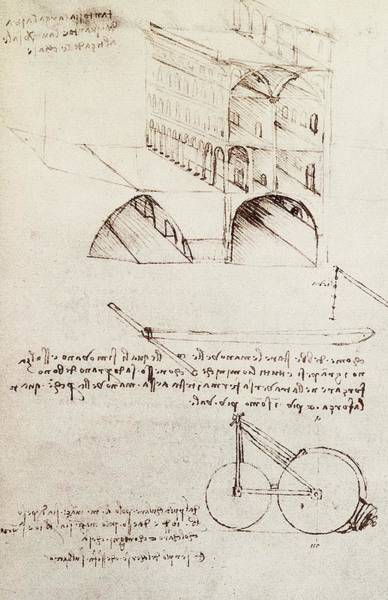 Math Drawing - Manuscript B F 36 R Architectural Studies Development And Sections Of Buildings In City With Raise by Leonardo Da Vinci