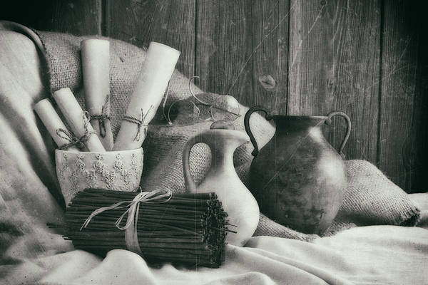 Vases Photograph - Manuscripts Still Life II by Tom Mc Nemar