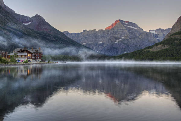 Many Glacier Hotel On Swiftcurrent Lake Art Print