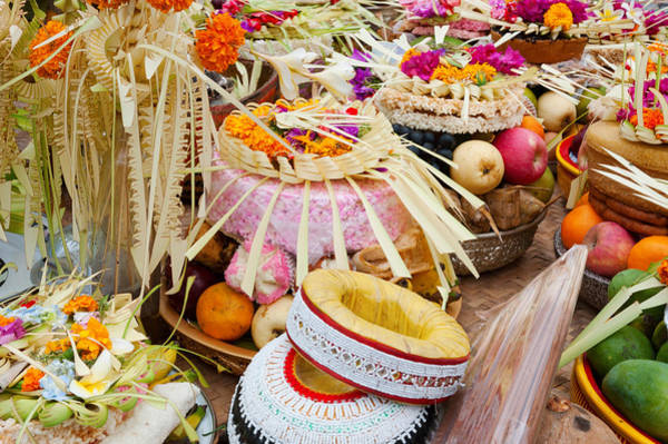 Offering Photograph - Many Of The Offerings On Cart In Front by Panoramic Images
