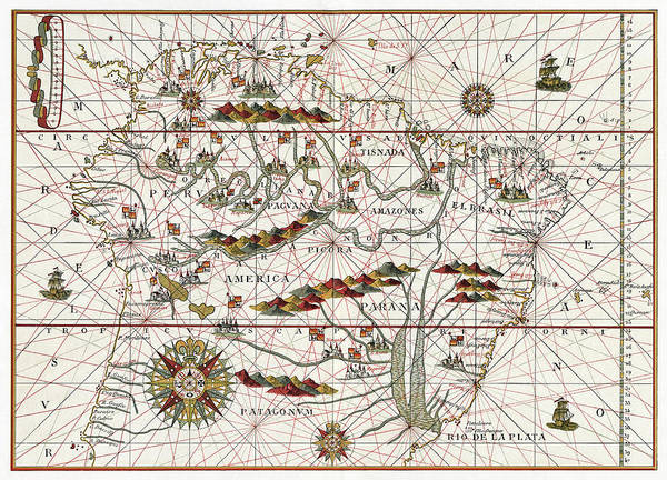 Wall Art - Painting - Map America, 1582 by Granger