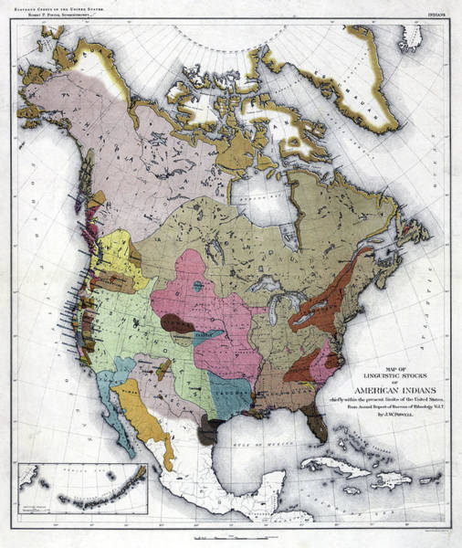Wall Art - Painting - Map American Indians by Granger