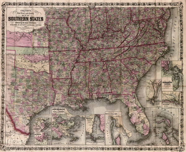 Alabama Painting - Map American South, 1864 by Granger