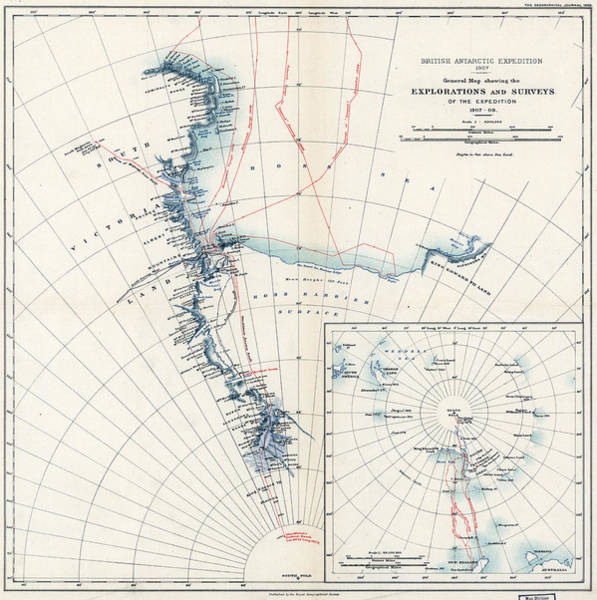 Wall Art - Painting - Map Antarctica, 1909 by Granger