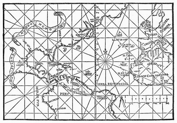 Wall Art - Painting - Map Atlantic Ocean, 1554 by Granger