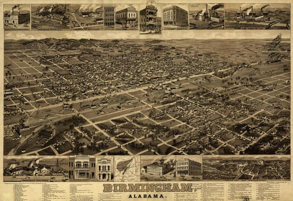 Alabama Painting - Map Birmingham, Alabama by Granger