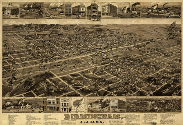South Alabama Painting - Map Birmingham, Alabama by Granger