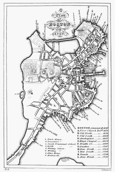 Photograph - Map: Boston, 1722 by Granger