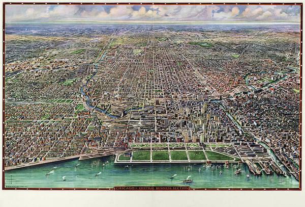 Map Chicago, 1916 Art Print