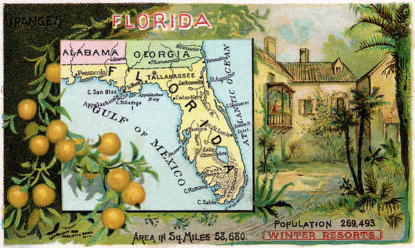 Wall Art - Drawing - Map Florida, 1889 by Granger
