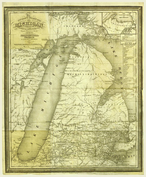 Michigan Drawing - Map, History Of Michigan, 1839, Civil And Topographical by Litz Collection