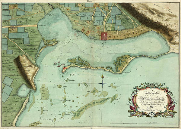 Wall Art - Painting - Map Jamaica, 1756 by Granger