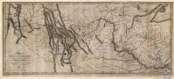 Wall Art - Painting - Map Lewis And Clark, 1814 by Granger