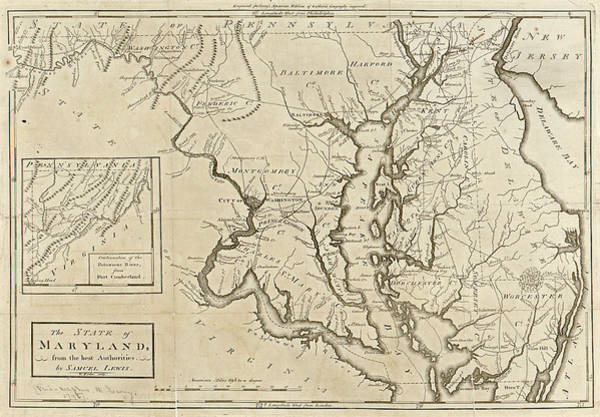 Samuel Lewis Wall Art - Painting - Map Maryland, 1795 by Granger