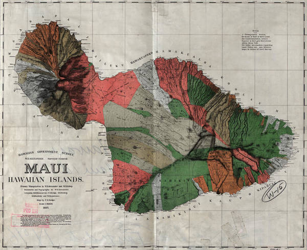 Wall Art - Painting - Map Maui, 1885 by Granger