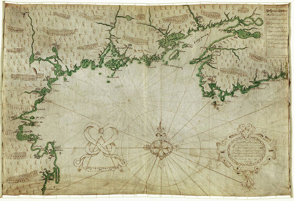 Atlantic Ocean Drawing - Map New France, 1607 by Granger