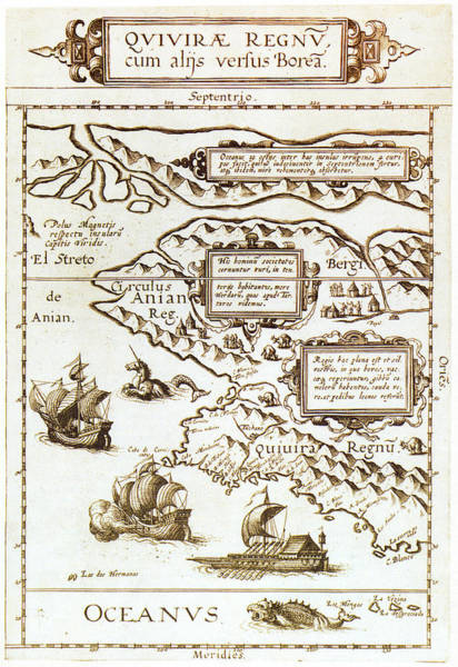 Wall Art - Painting - Map North America, 1593 by Granger