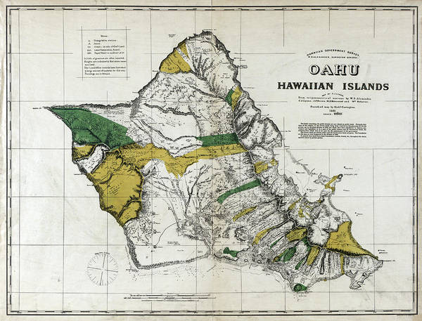 Wall Art - Painting - Map Oahu, 1881 by Granger