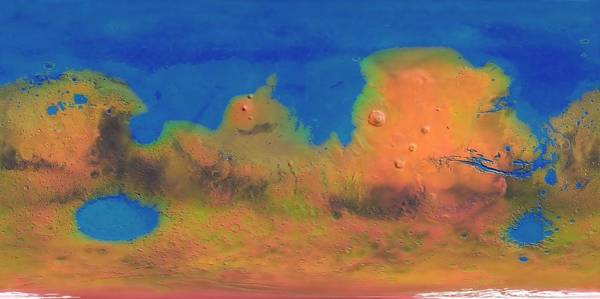 Land Mark Photograph - Map Of A Terraformed Mars by Mark Garlick/science Photo Library