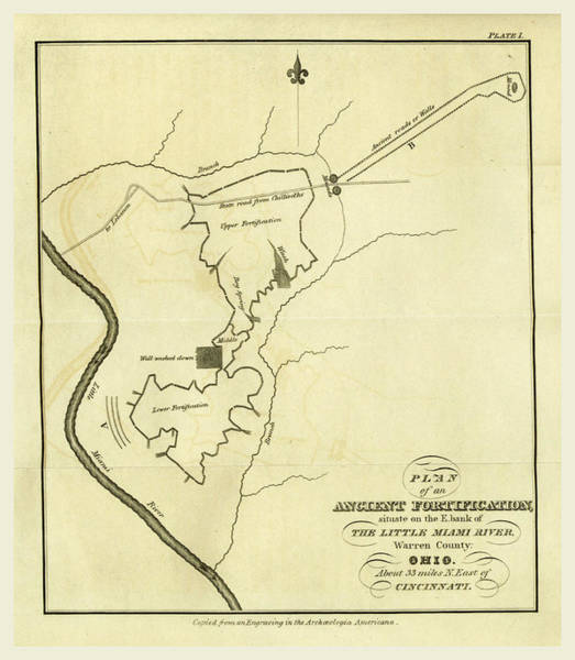 River Bank Drawing - Map Of An Ancient Fortification On The Bank Of The Little by Litz Collection