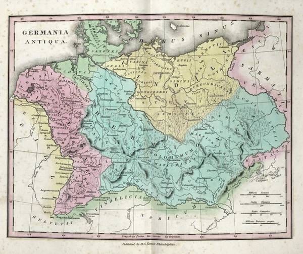 Germania Photograph - Map Of Ancient Germania by Library Of Congress, Geography And Map Division