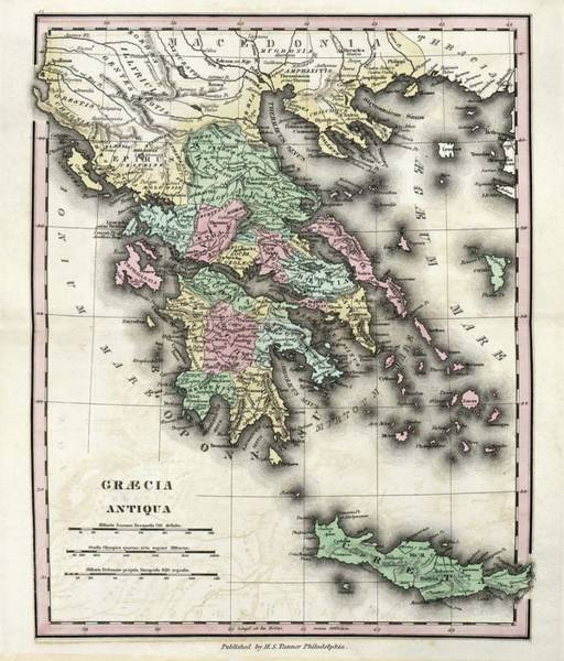 Peloponnese Photograph - Map Of Ancient Greece by Library Of Congress, Geography And Map Division