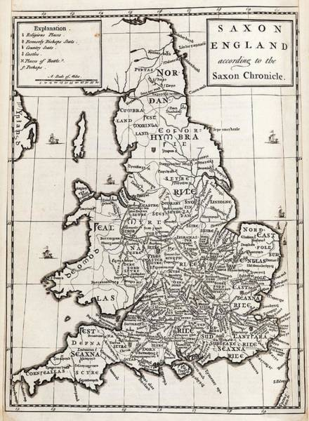Northumbria Photograph - Map Of Anglo-saxon England by Middle Temple Library