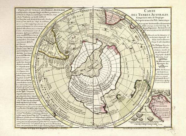 Physique Photograph - Map Of Antarctica by Library Of Congress, Geography And Map Division
