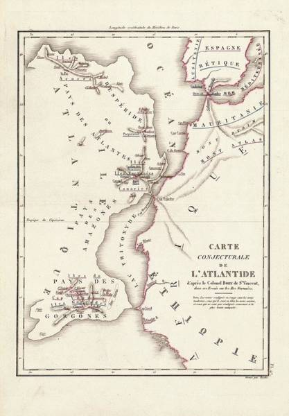 Azores Photograph - Map Of Atlantis by Library Of Congress, Geography And Map Division