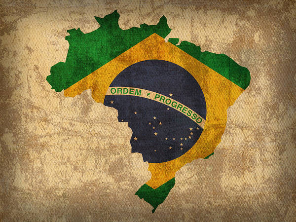 South America Mixed Media - Map Of Brazil With Flag Art On Distressed Worn Canvas by Design Turnpike