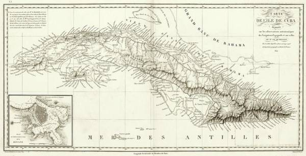 Channel Islands Photograph - Map Of Cuba by Library Of Congress, Geography And Map Division