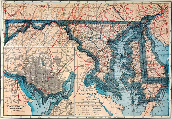 Collectible Art Drawing - Map Of Delaware And Maryland 1921 by Mountain Dreams