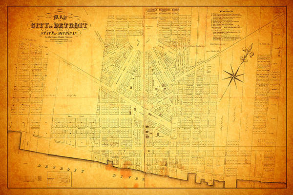 1800s Wall Art - Mixed Media - Map Of Detroit Michigan C 1835 by Design Turnpike