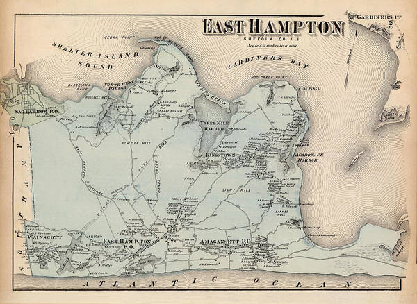 Wall Art - Photograph - Map Of East Hampton 1873 by Andrew Fare